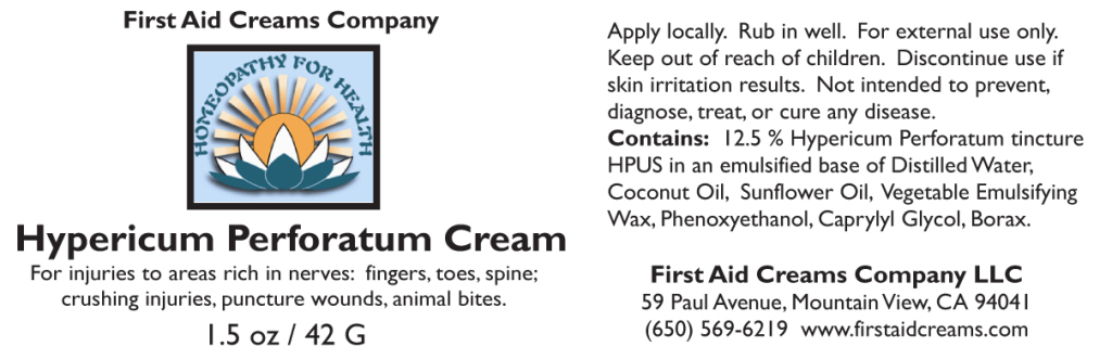 Hypericum Cream label