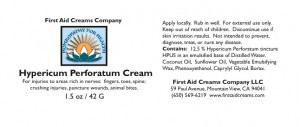 Hypericum Perforatum Cream Label